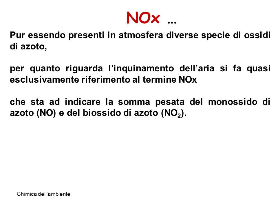 NOx … Pur essendo presenti in atmosfera diverse specie di ossidi di azoto,