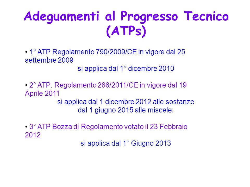 Adeguamenti al Progresso Tecnico (ATPs)