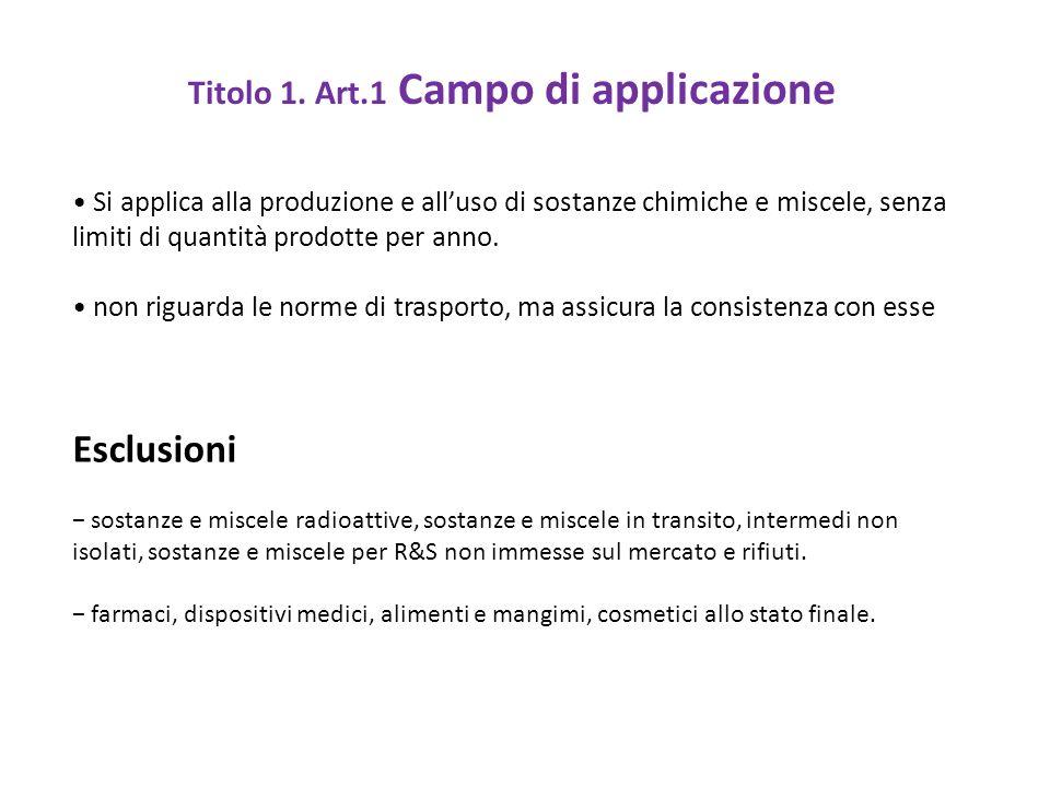 Titolo 1. Art.1 Campo di applicazione