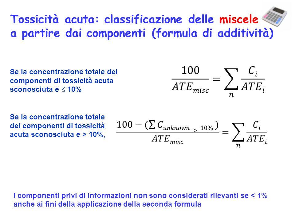 Tossicità acuta: classificazione delle miscele