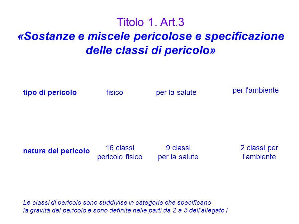 Titolo 1. Art.3 «Sostanze e miscele pericolose e specificazione delle classi di pericolo» per l ambiente.