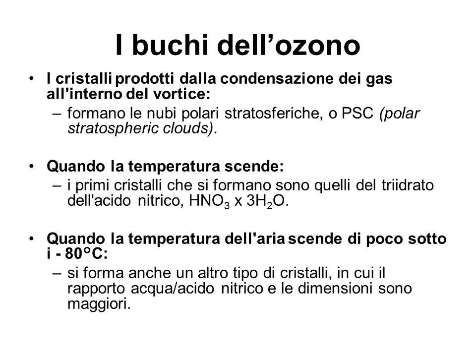 I buchi dell'ozono I cristalli prodotti dalla condensazione dei gas all interno del vortice: