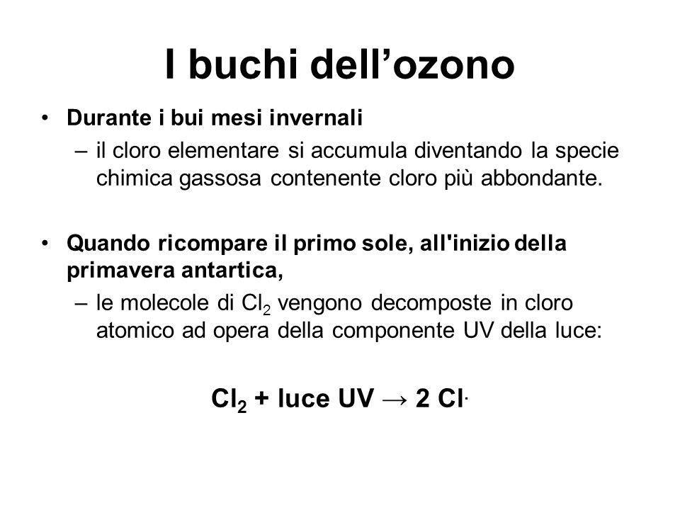 I buchi dell'ozono Cl2 + luce UV → 2 Cl. Durante i bui mesi invernali