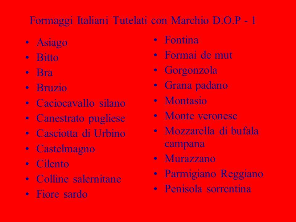 Formaggi Italiani Tutelati con Marchio D.O.P - 1