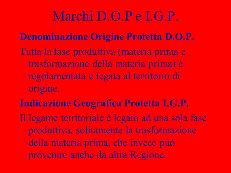 Marchi D.O.P e I.G.P. Denominazione Origine Protetta D.O.P.