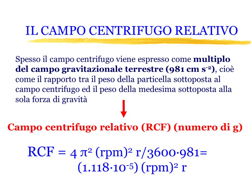 IL CAMPO CENTRIFUGO RELATIVO