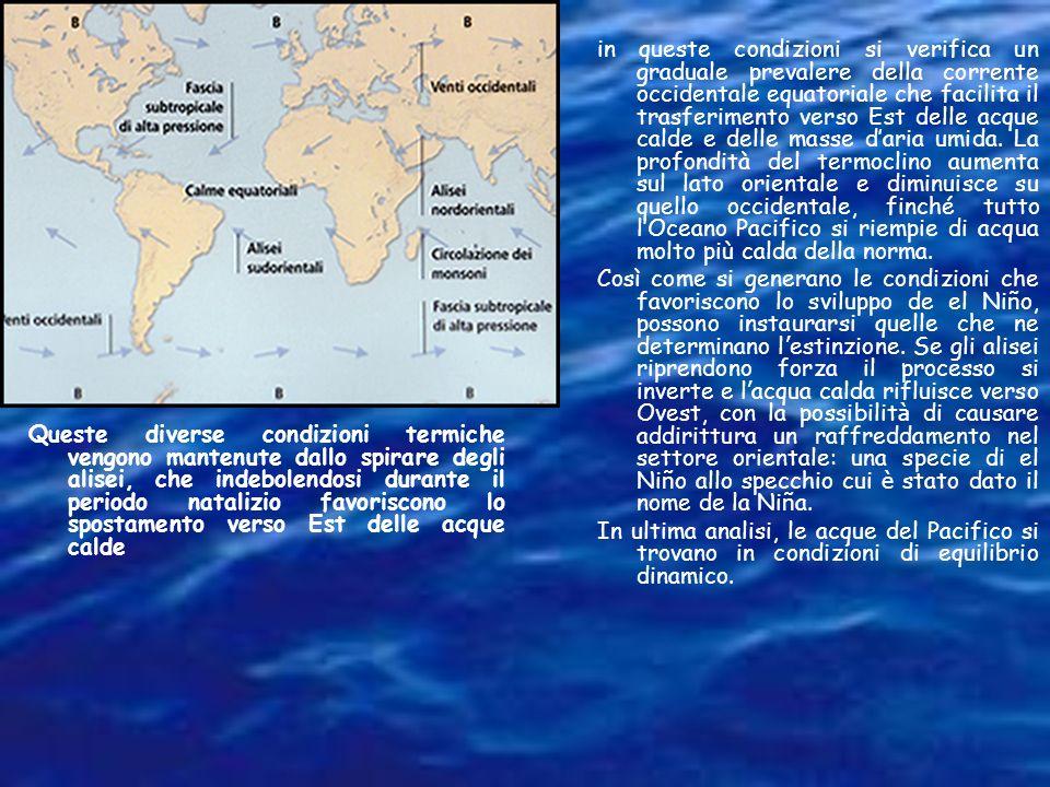 in queste condizioni si verifica un graduale prevalere della corrente occidentale equatoriale che facilita il trasferimento verso Est delle acque calde e delle masse d'aria umida. La profondità del termoclino aumenta sul lato orientale e diminuisce su quello occidentale, finché tutto l'Oceano Pacifico si riempie di acqua molto più calda della norma.