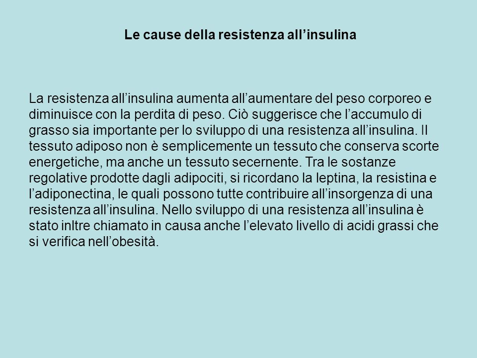 Le cause della resistenza all'insulina
