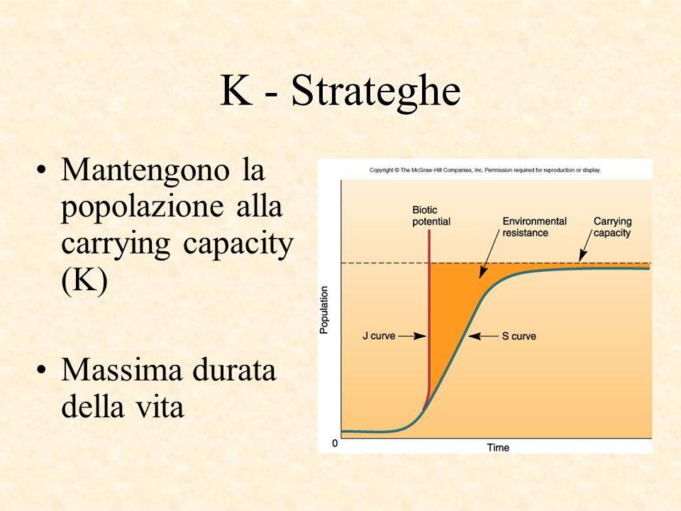 K - Strateghe Mantengono la popolazione alla carrying capacity (K)