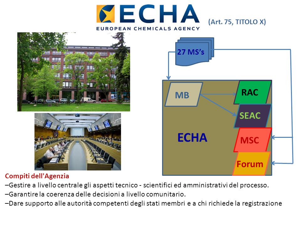 ECHA RAC MB SEAC MSC Forum 27 MS's (Art. 75, TITOLO X)