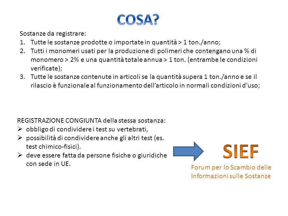 SIEF COSA Sostanze da registrare: