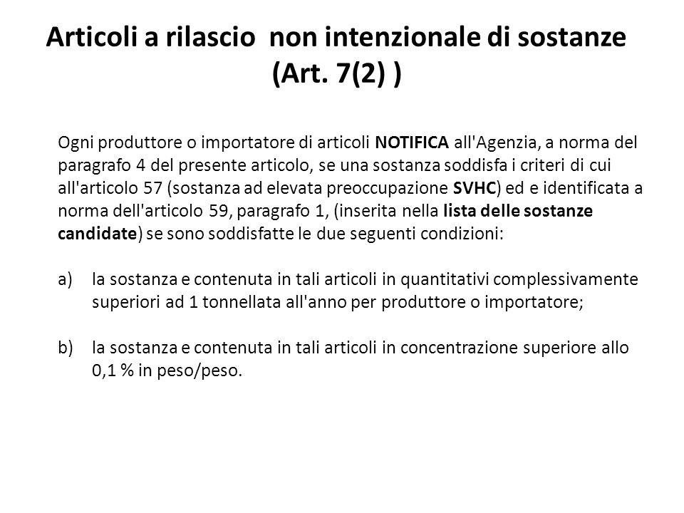 Articoli a rilascio non intenzionale di sostanze (Art. 7(2) )