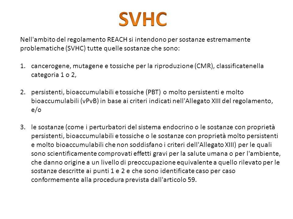 SVHCNell ambito del regolamento REACH si intendono per sostanze estremamente. problematiche (SVHC) tutte quelle sostanze che sono: