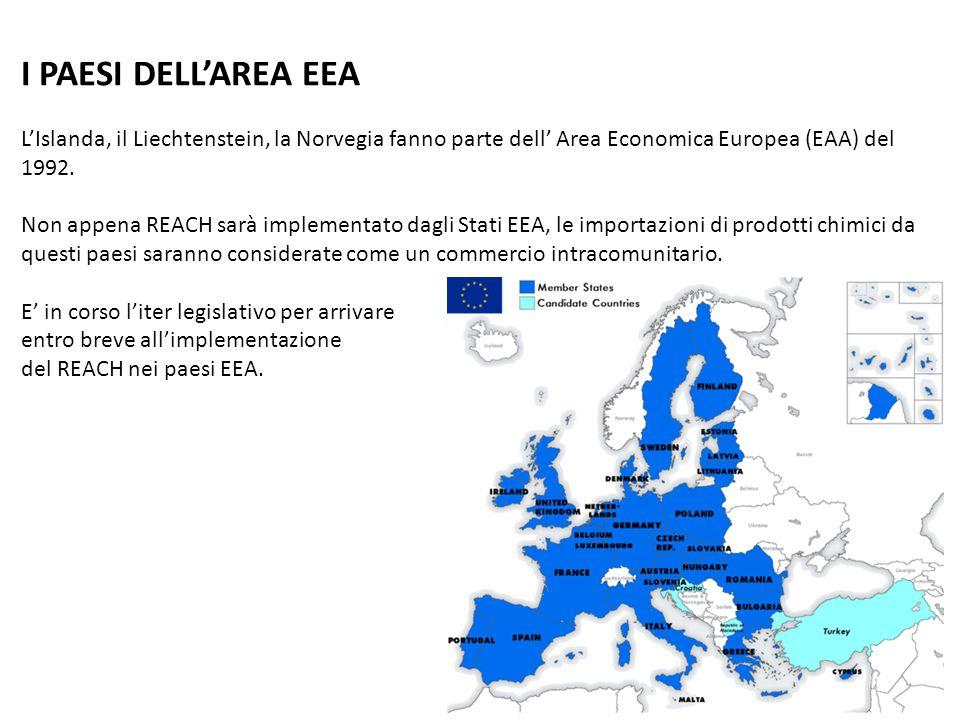 I PAESI DELL'AREA EEA L'Islanda, il Liechtenstein, la Norvegia fanno parte dell' Area Economica Europea (EAA) del 1992.