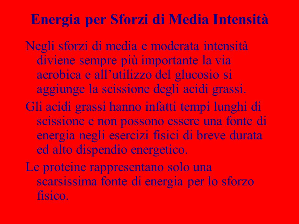 Energia per Sforzi di Media Intensità