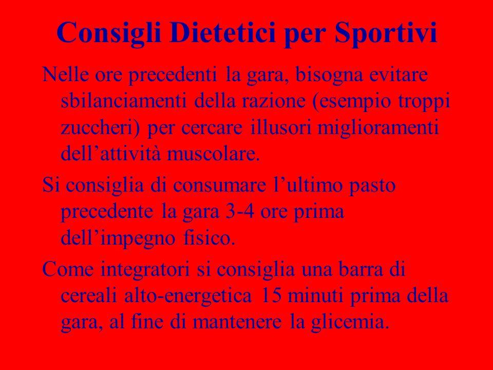 Consigli Dietetici per Sportivi
