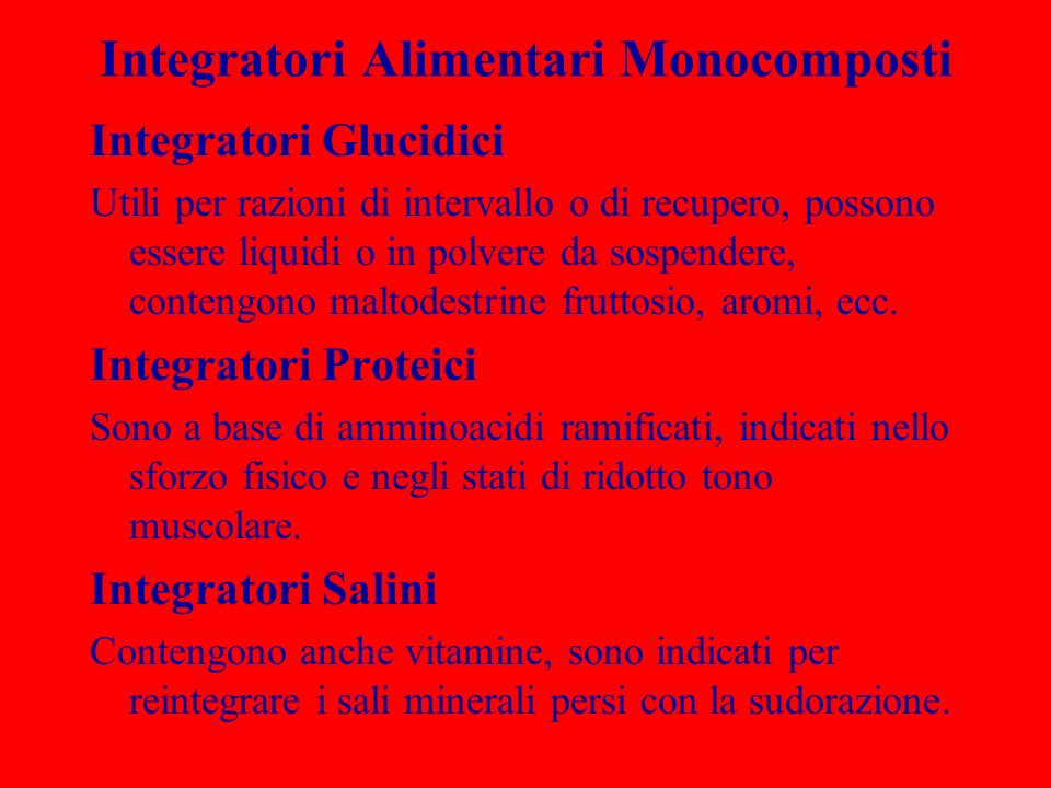 Integratori Alimentari Monocomposti