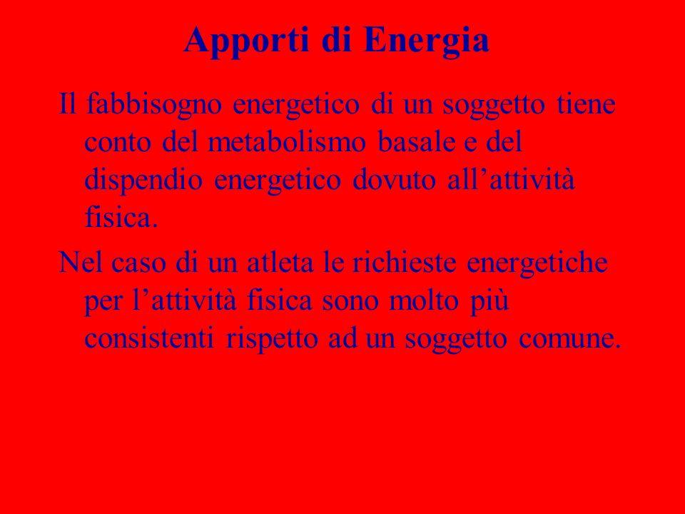 Apporti di Energia Il fabbisogno energetico di un soggetto tiene conto del metabolismo basale e del dispendio energetico dovuto all'attività fisica.