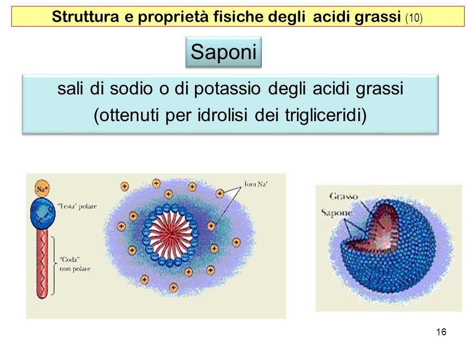 Saponi sali di sodio o di potassio degli acidi grassi