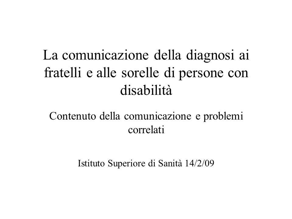 La comunicazione della diagnosi ai fratelli e alle sorelle di persone con disabilità