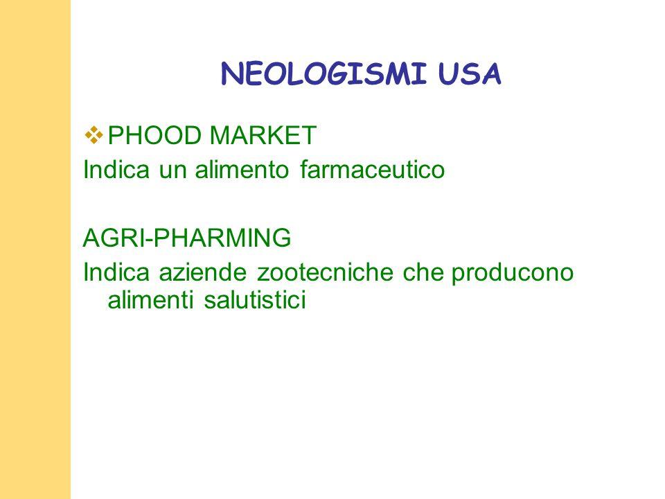 NEOLOGISMI USA PHOOD MARKET Indica un alimento farmaceutico