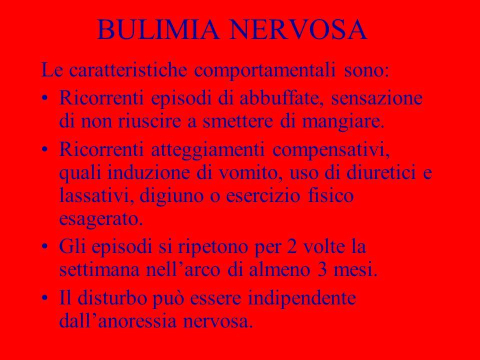 BULIMIA NERVOSA Le caratteristiche comportamentali sono: