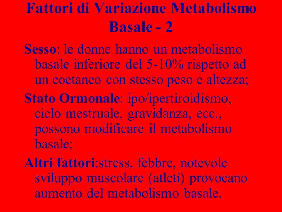 Fattori di Variazione Metabolismo Basale - 2