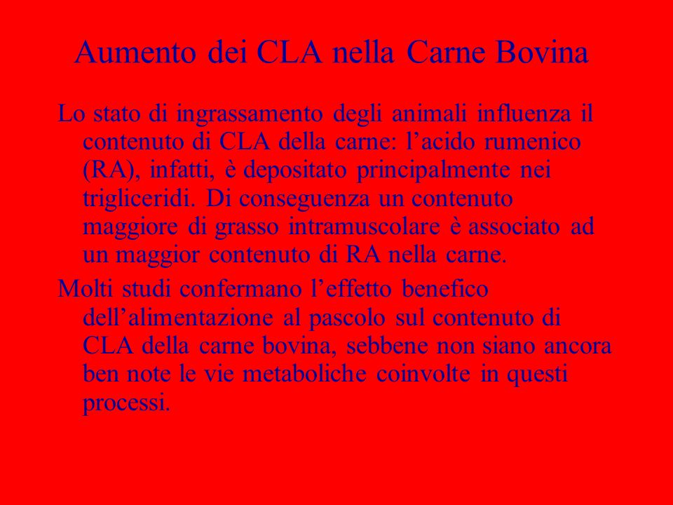 Aumento dei CLA nella Carne Bovina