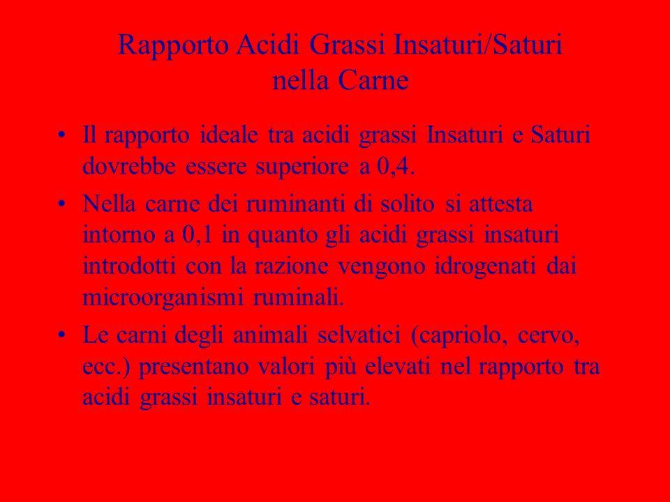Rapporto Acidi Grassi Insaturi/Saturi nella Carne