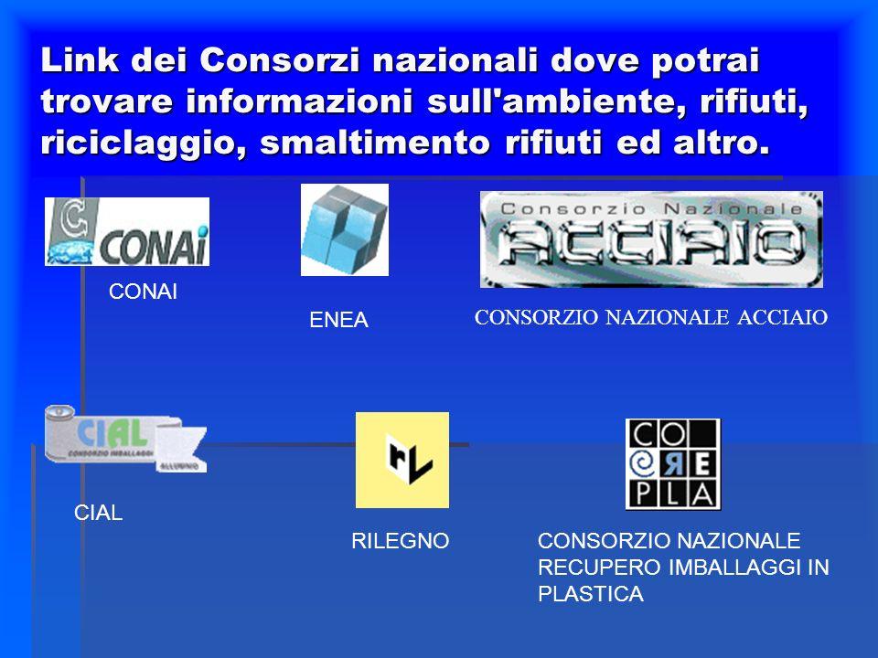 Link dei Consorzi nazionali dove potrai trovare informazioni sull ambiente, rifiuti, riciclaggio, smaltimento rifiuti ed altro.