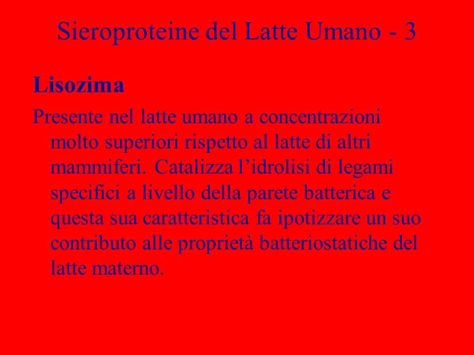 Sieroproteine del Latte Umano - 3