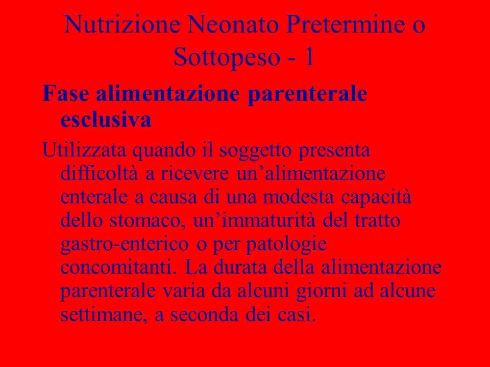 Nutrizione Neonato Pretermine o Sottopeso - 1