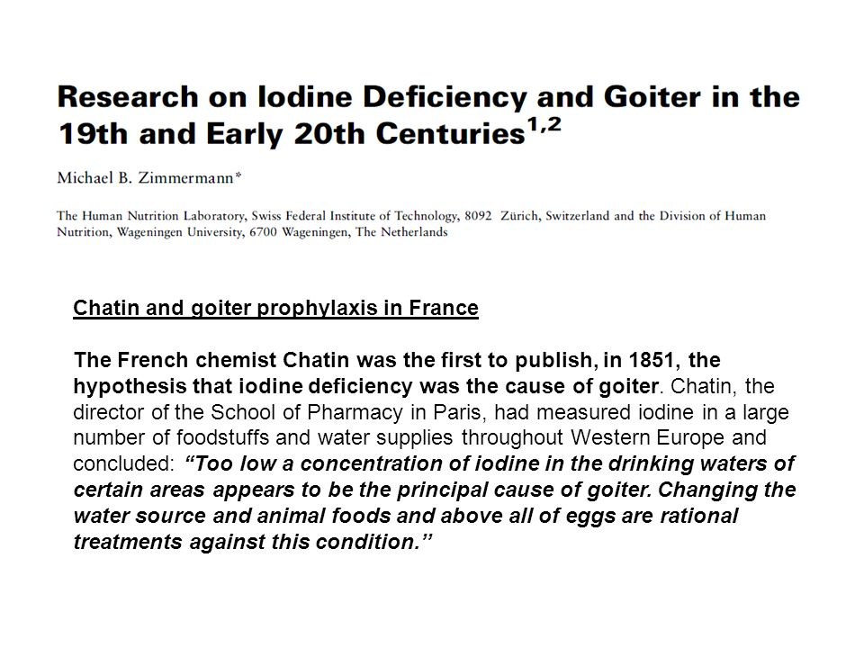Chatin and goiter prophylaxis in France