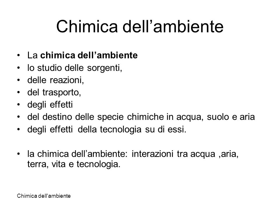 Chimica dell'ambiente