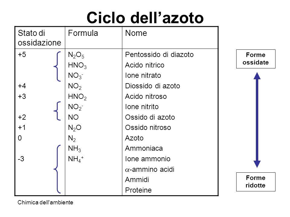 Ciclo dell'azoto Stato di ossidazione Formula Nome +5 +4 +3 +2 +1 -3