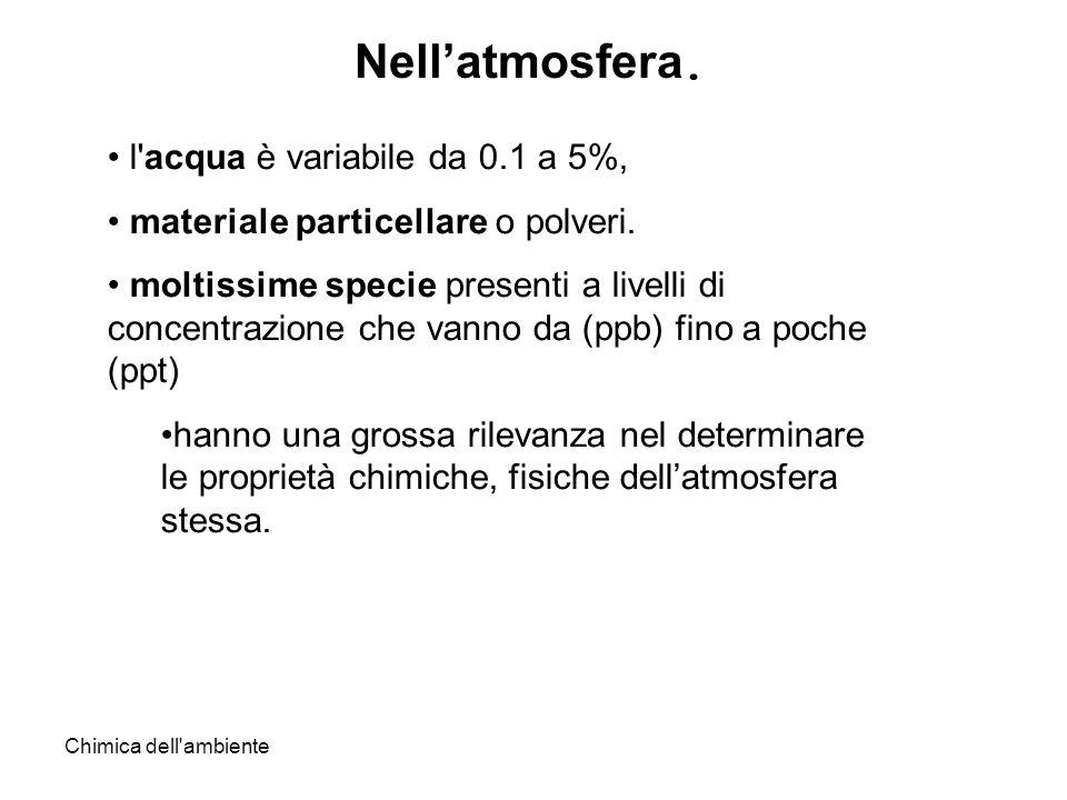 Nell'atmosfera. l acqua è variabile da 0.1 a 5%,