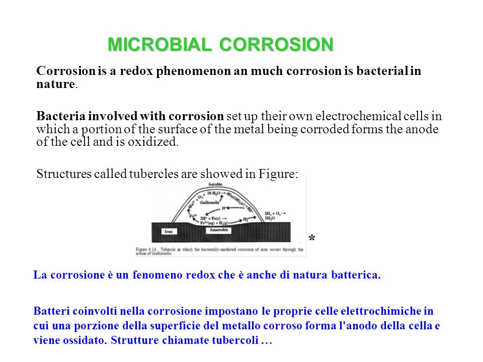 MICROBIAL CORROSION Corrosion is a redox phenomenon an much corrosion is bacterial in nature.
