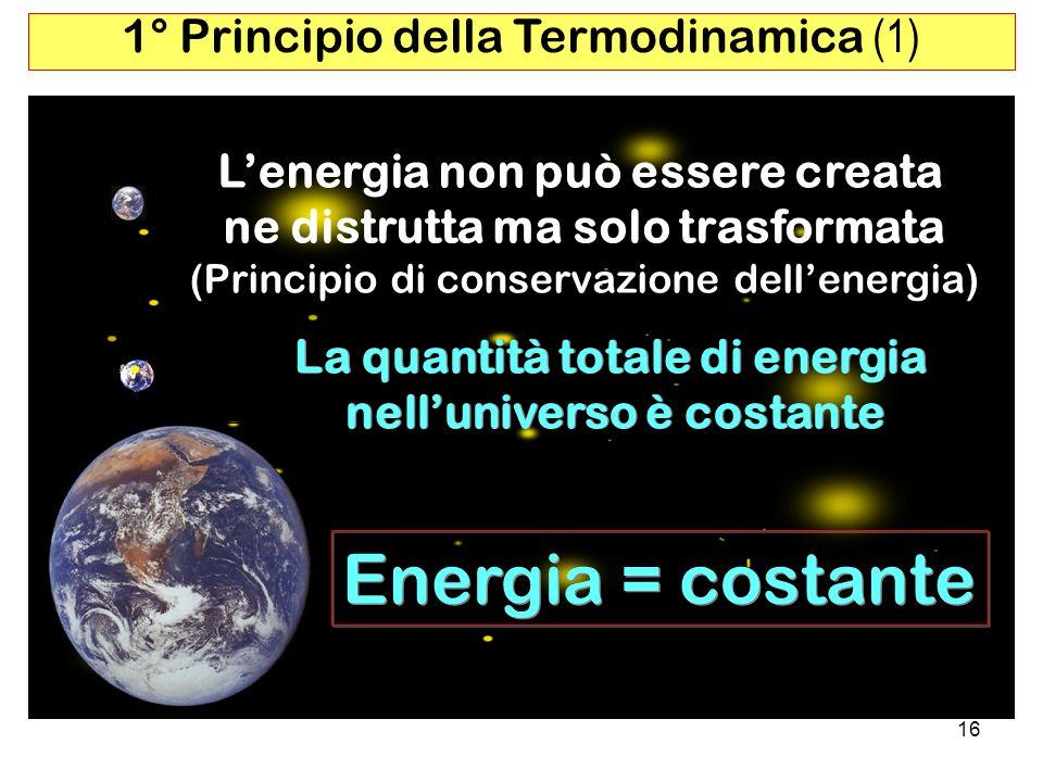 Energia = costante 1° Principio della Termodinamica (1)