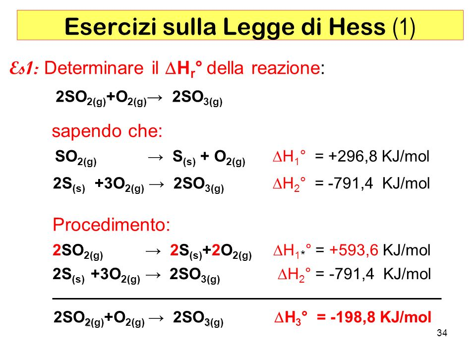 Esercizi sulla Legge di Hess (1)
