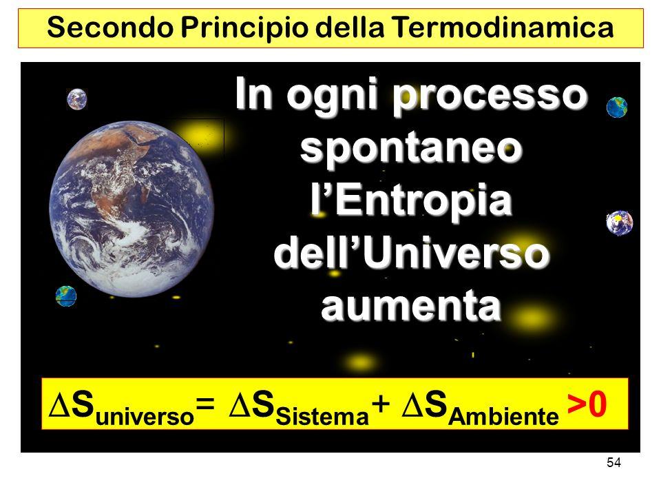 In ogni processo spontaneo l'Entropia dell'Universo