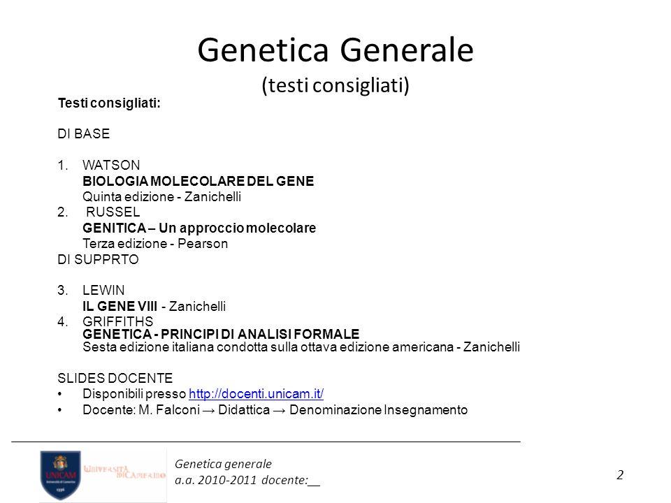 Genetica Generale (testi consigliati)