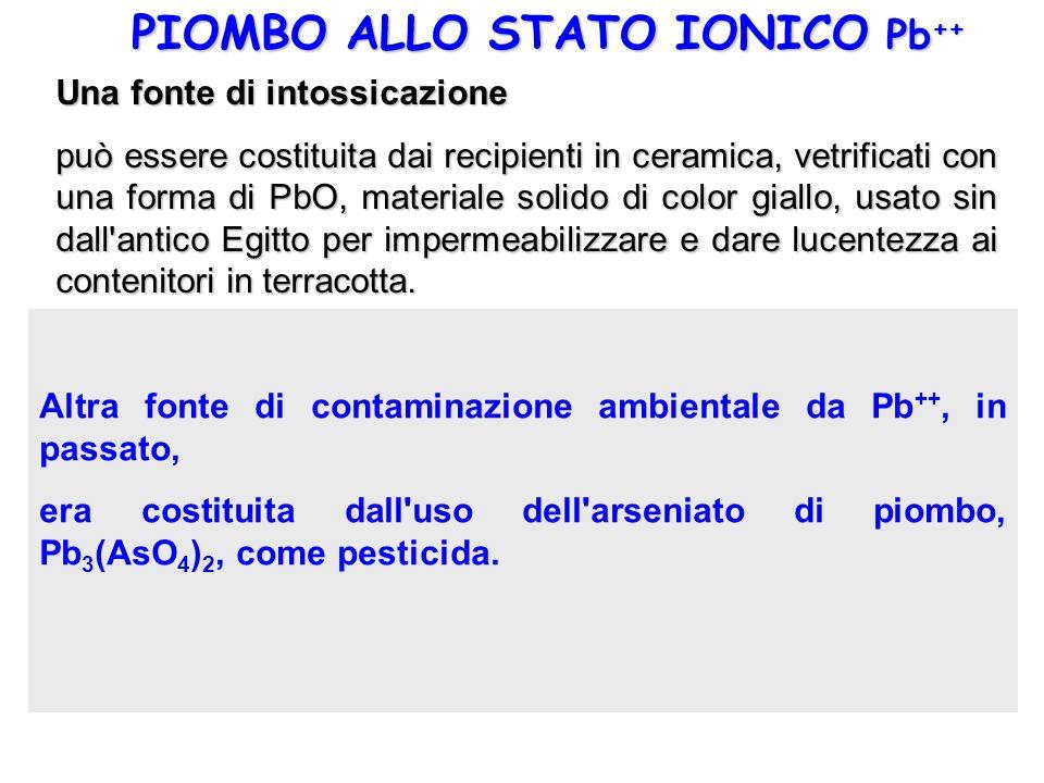 PIOMBO ALLO STATO IONICO Pb++ PbO(s) + 2 H+ <==> Pb++ + H2O