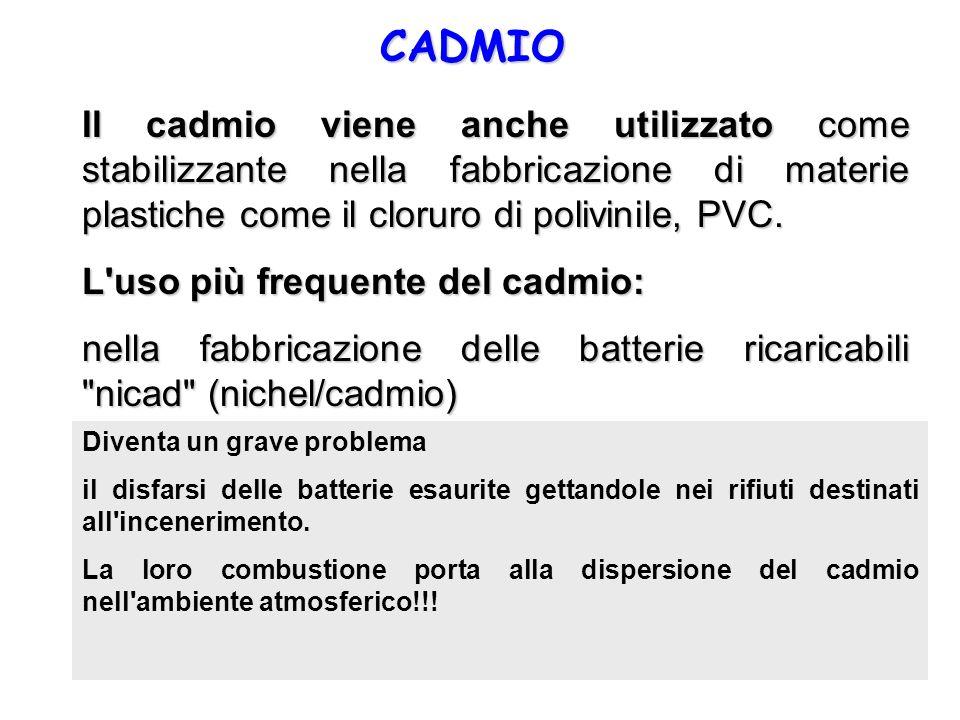 CADMIO Il cadmio viene anche utilizzato come stabilizzante nella fabbricazione di materie plastiche come il cloruro di polivinile, PVC.