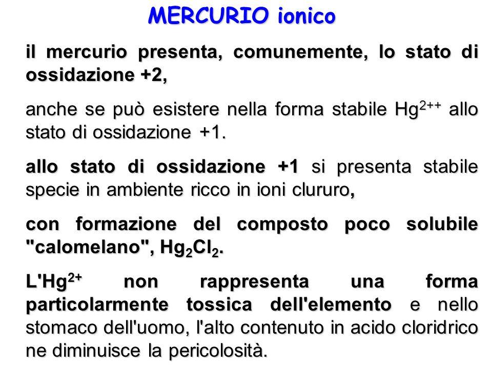 MERCURIO ionico il mercurio presenta, comunemente, lo stato di ossidazione +2,