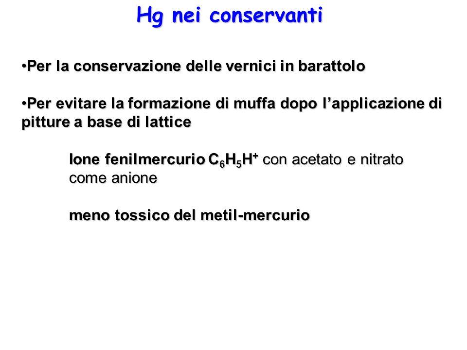 Hg nei conservanti Per la conservazione delle vernici in barattolo