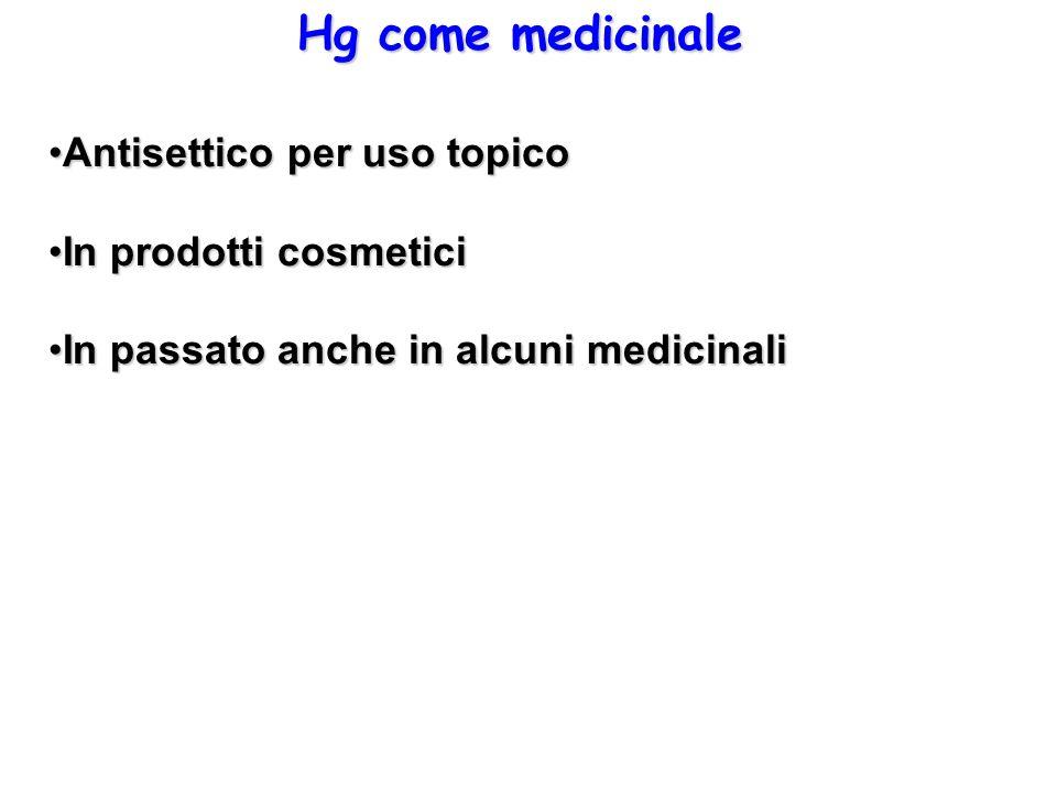 Hg come medicinale Antisettico per uso topico In prodotti cosmetici