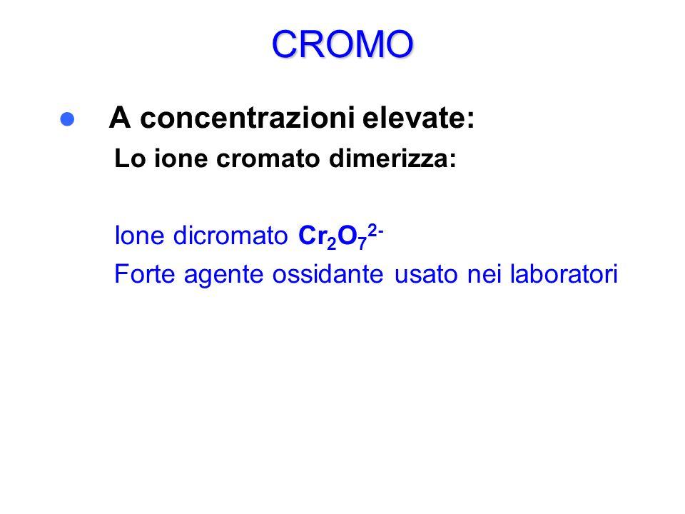 CROMO A concentrazioni elevate: Lo ione cromato dimerizza: