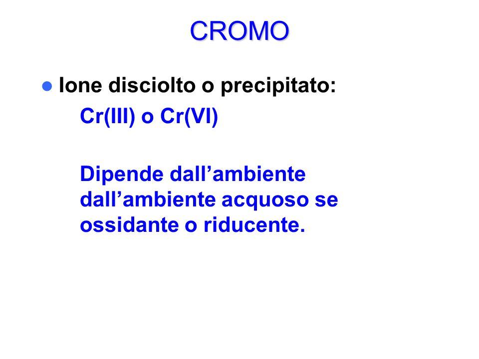 CROMO Ione disciolto o precipitato: Cr(III) o Cr(VI)