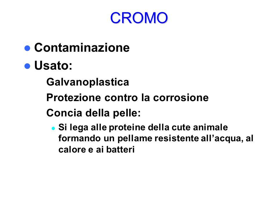 CROMO Contaminazione Usato: Galvanoplastica