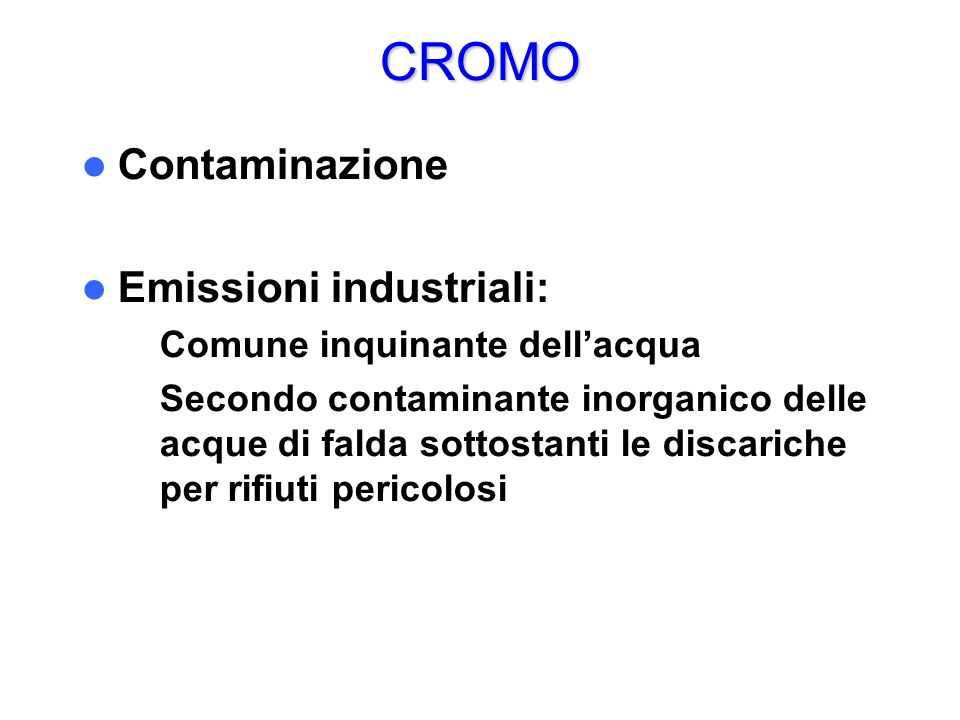CROMO Contaminazione Emissioni industriali:
